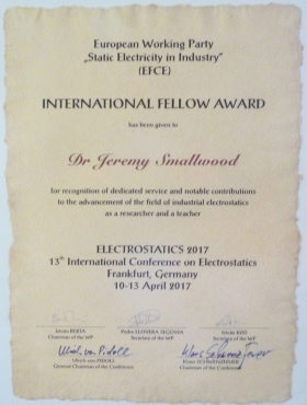 EWP Static Electricity in industry Award
