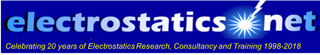 electrostatics.net header celebrating 15 years of electrostatics research, consulting and training 1998-2013